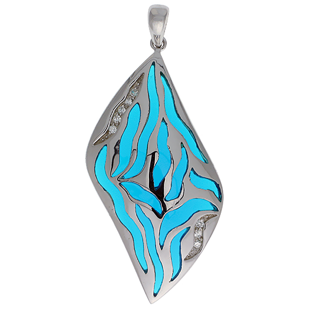 Sterling Silver Blue Stripes Resin Pendant, 1 11/16 inch long