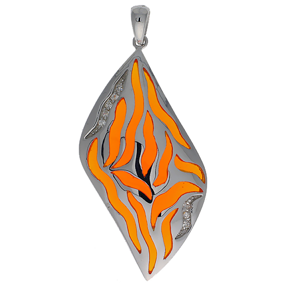 Sterling Silver Orange Stripes Resin Pendant, 1 11/16 inch long
