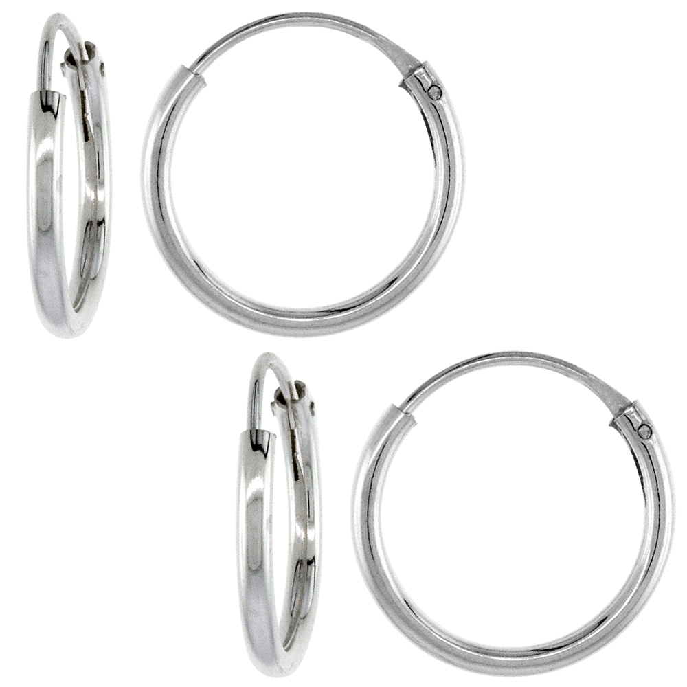 2 Pairs Sterling Silver Endless Hoop Earrings for Ears Nose and lips 1/2 inch 12mm