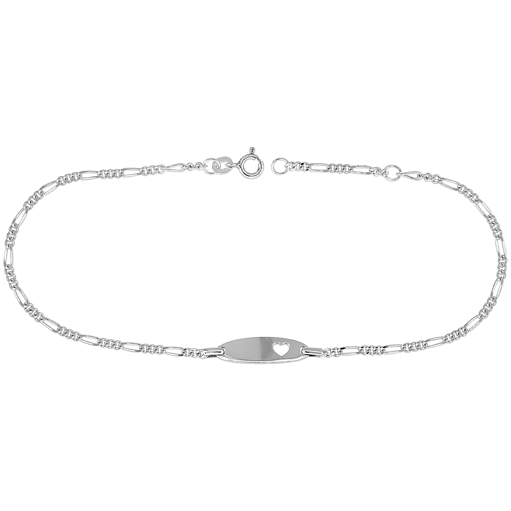 Sterling Silver Figaro Link Baby ID Anklet w/ Heart Cut-Out