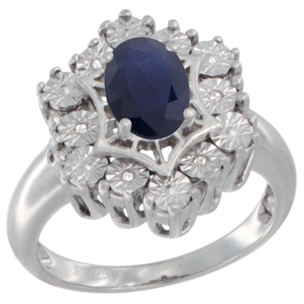 Sterling Silver Natural Blue Sapphire Ring 7x5 Oval Illusion Diamonds Rhodium finish, sizes 5 - 10