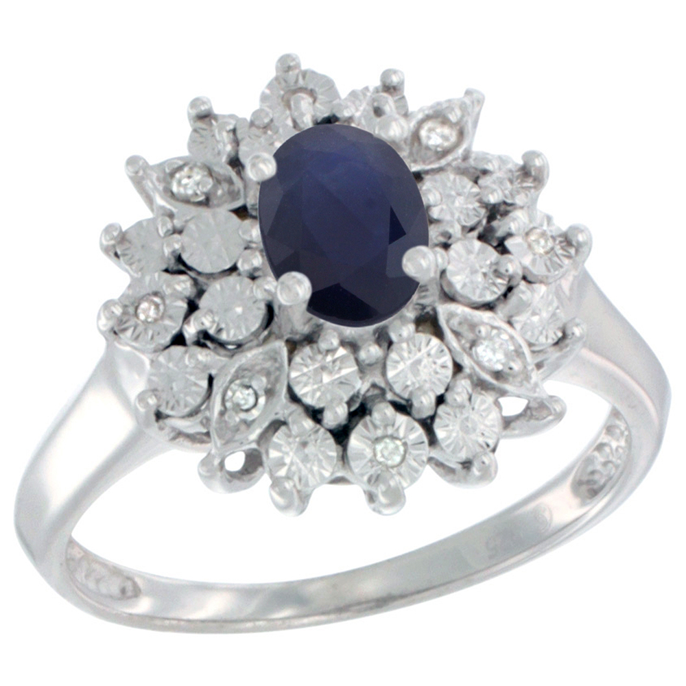 Sterling Silver Natural Blue Sapphire Ring Oval 6x4, Diamond Accent, sizes 5 - 10