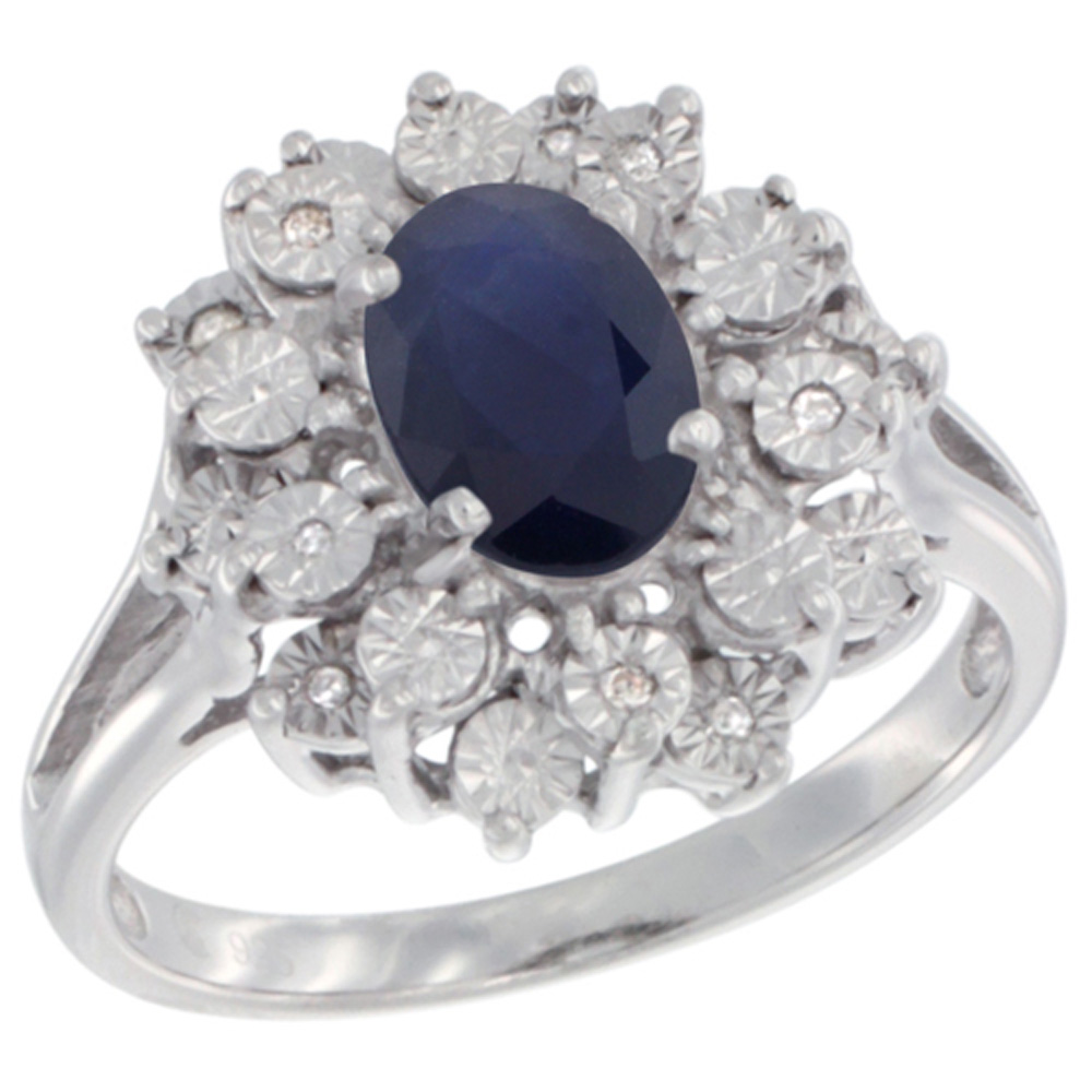 Sterling Silver Natural Blue Sapphire Ring Oval 8x6, Diamond Accent, sizes 5 - 10