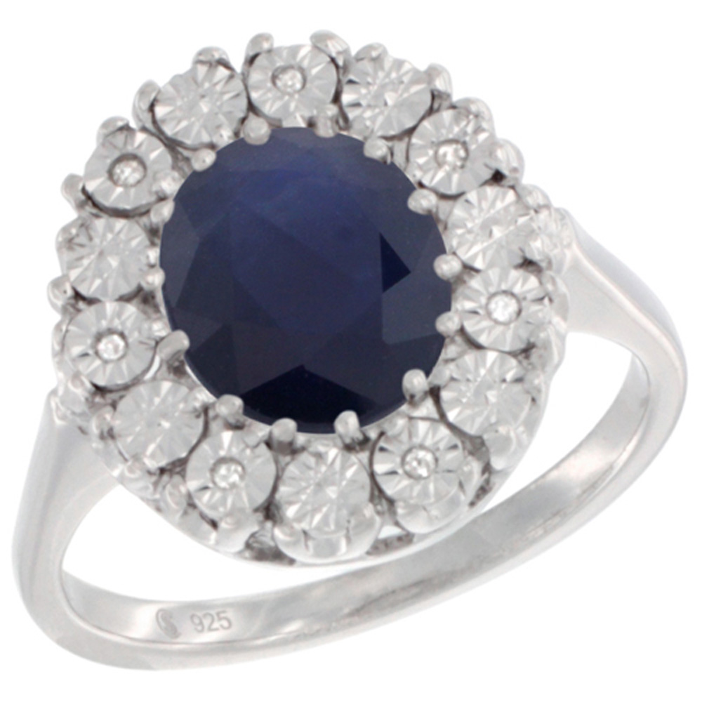 Sterling Silver Natural Blue Sapphire Ring Oval 9x7, Diamond Accent, sizes 5 - 10