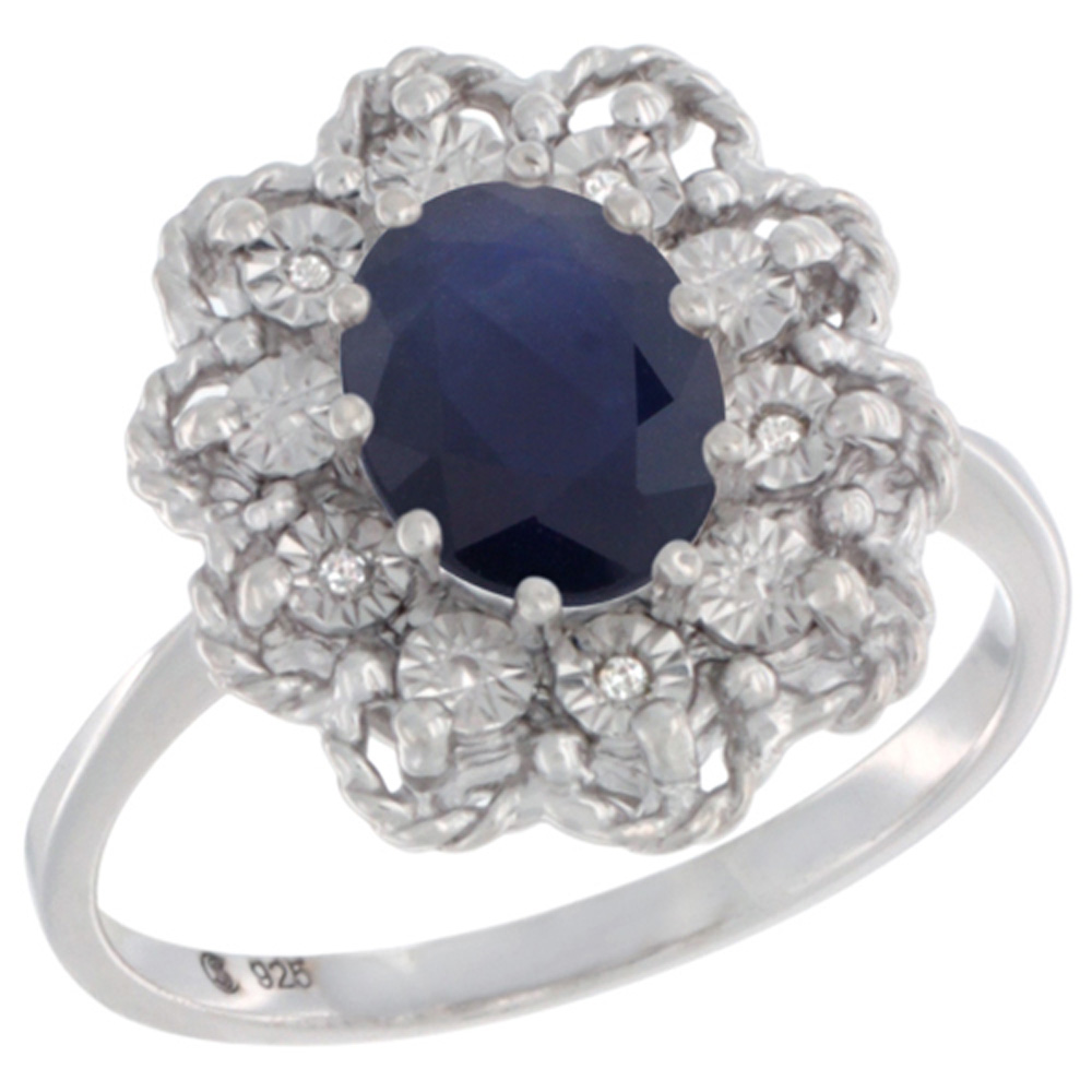 Sterling Silver Natural Blue Sapphire Ring Oval 8x6, Diamond Accent,, sizes 5 - 10
