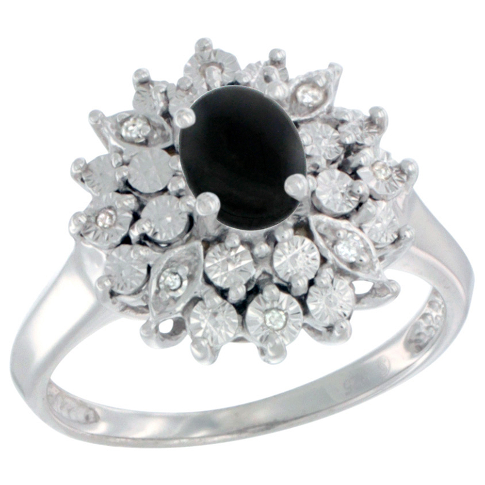 Sterling Silver Natural Black Onyx Ring Oval 6x4, Diamond Accent, sizes 5 - 10