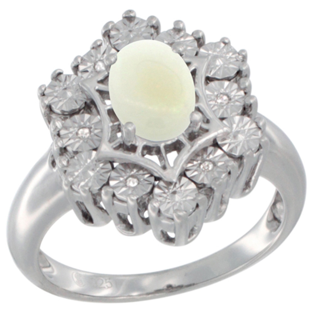 Sterling Silver Natural Opal Ring 7x5 Oval Illusion Diamonds Rhodium finish, sizes 5 - 10