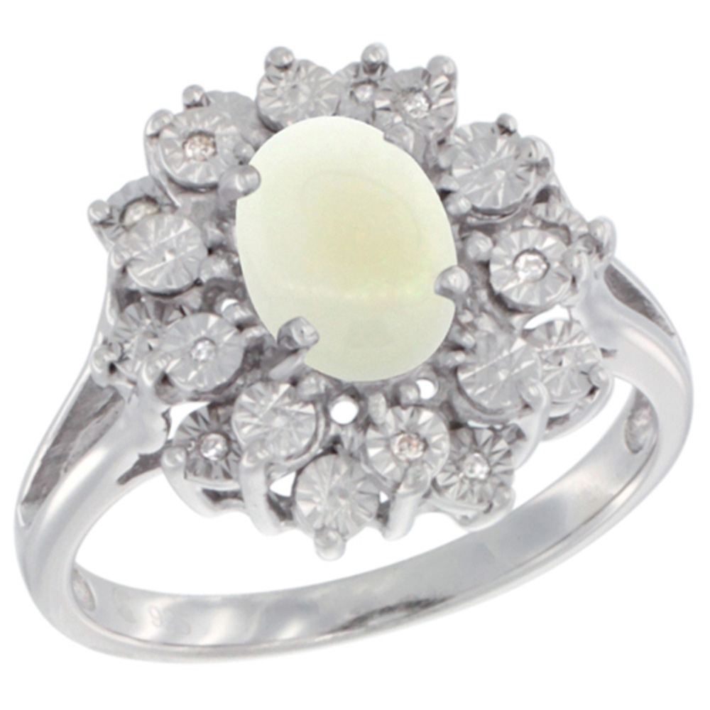 Sterling Silver Natural Opal Ring Oval 8x6, Diamond Accent, sizes 5 - 10