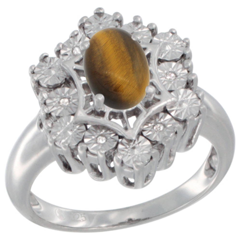 Sterling Silver Natural Tiger Eye Ring 7x5 Oval Illusion Diamonds Rhodium finish, sizes 5 - 10