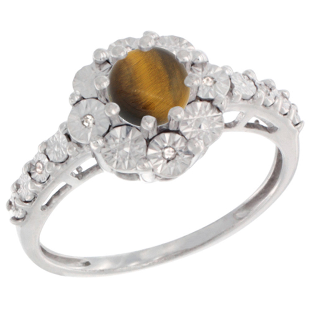 Sterling Silver Natural Tiger Eye Ring Round 5x5, Diamond Accent, sizes 5 - 10