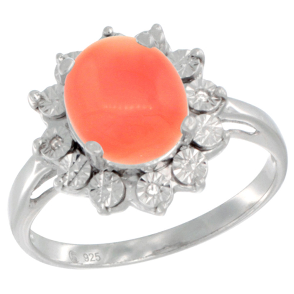 Sterling Silver Natural Coral Ring Oval 10x8, Diamond Accent, sizes 5 - 10