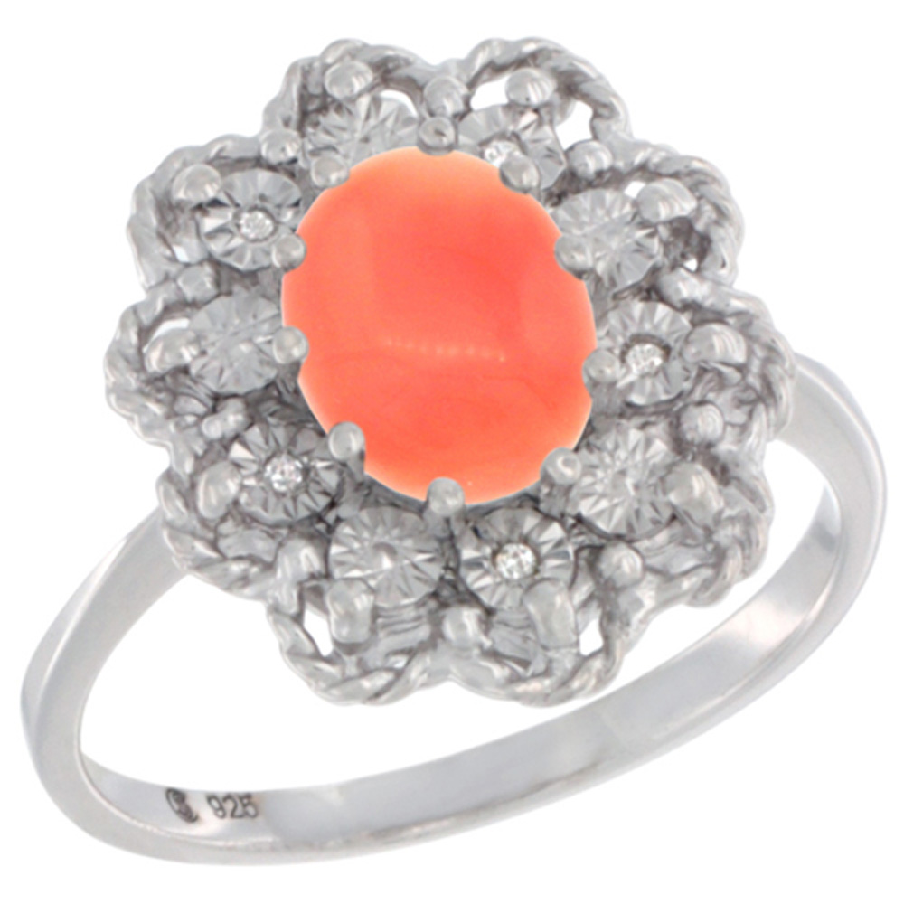 Sterling Silver Natural Coral Ring Oval 8x6, Diamond Accent,, sizes 5 - 10