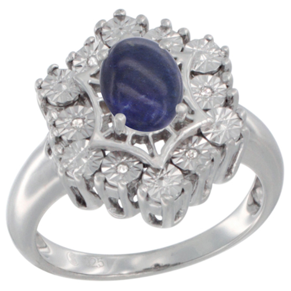 Sterling Silver Natural Lapis Ring 7x5 Oval Illusion Diamonds Rhodium finish, sizes 5 - 10