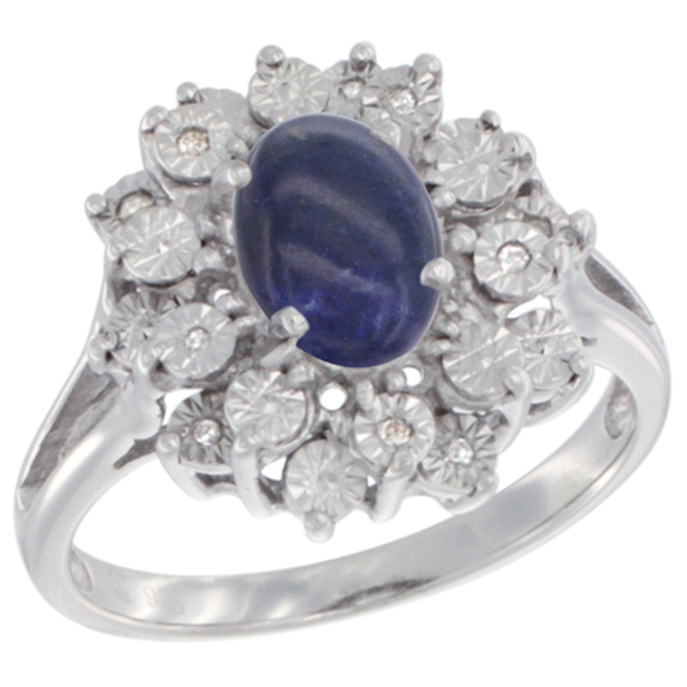 Sterling Silver Natural Lapis Ring Oval 8x6, Diamond Accent, sizes 5 - 10