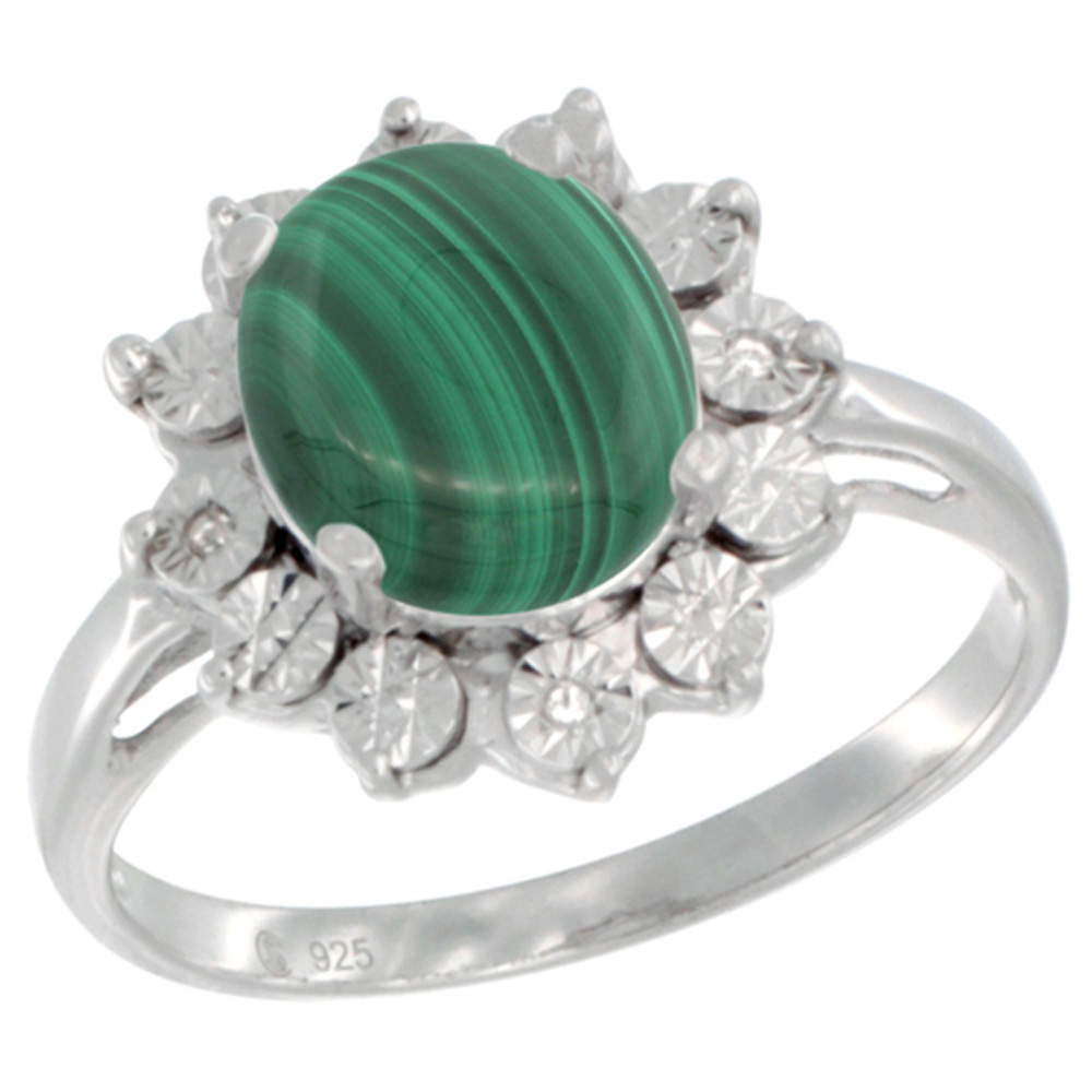 Sterling Silver Natural Malachite Ring Oval 10x8, Diamond Accent, sizes 5 - 10