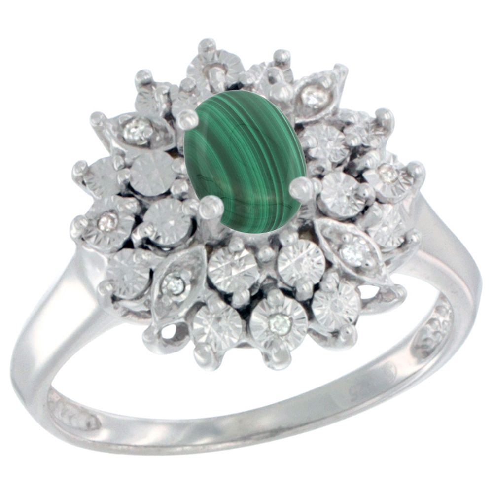Sterling Silver Natural Malachite Ring Oval 6x4, Diamond Accent, sizes 5 - 10