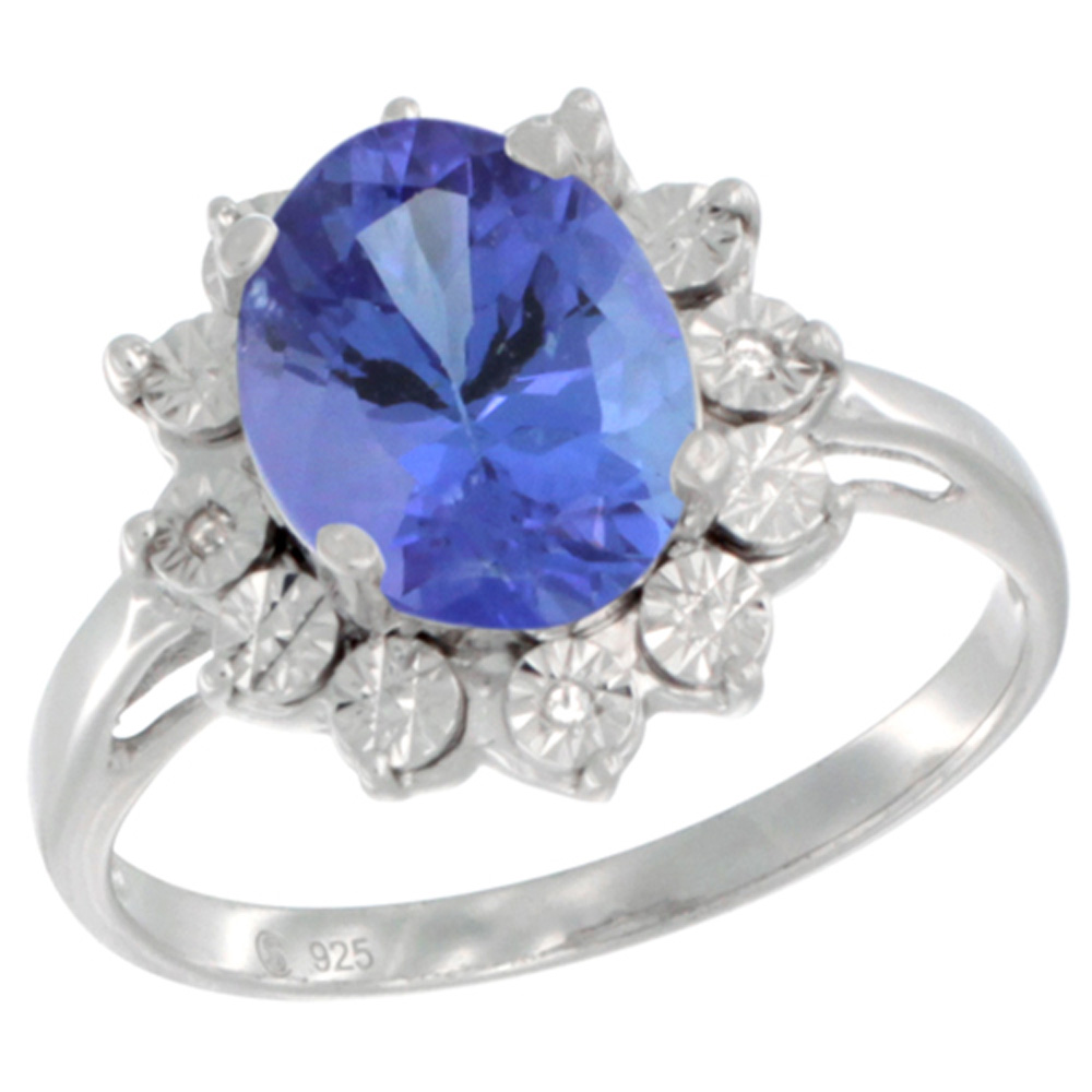 Sterling Silver Natural Tanzanite Ring Oval 10x8, Diamond Accent, sizes 5 - 10