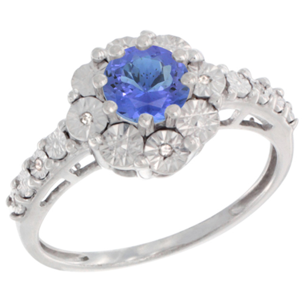 Sterling Silver Natural Tanzanite Ring Round 5x5, Diamond Accent, sizes 5 - 10