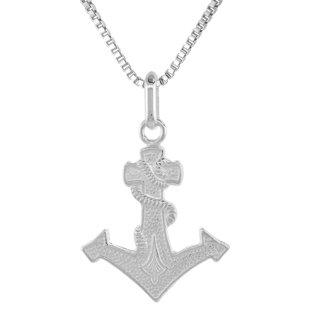 Sterling Silver Anchor Cross Pendant 1 1/8 inch high with No Chain Included