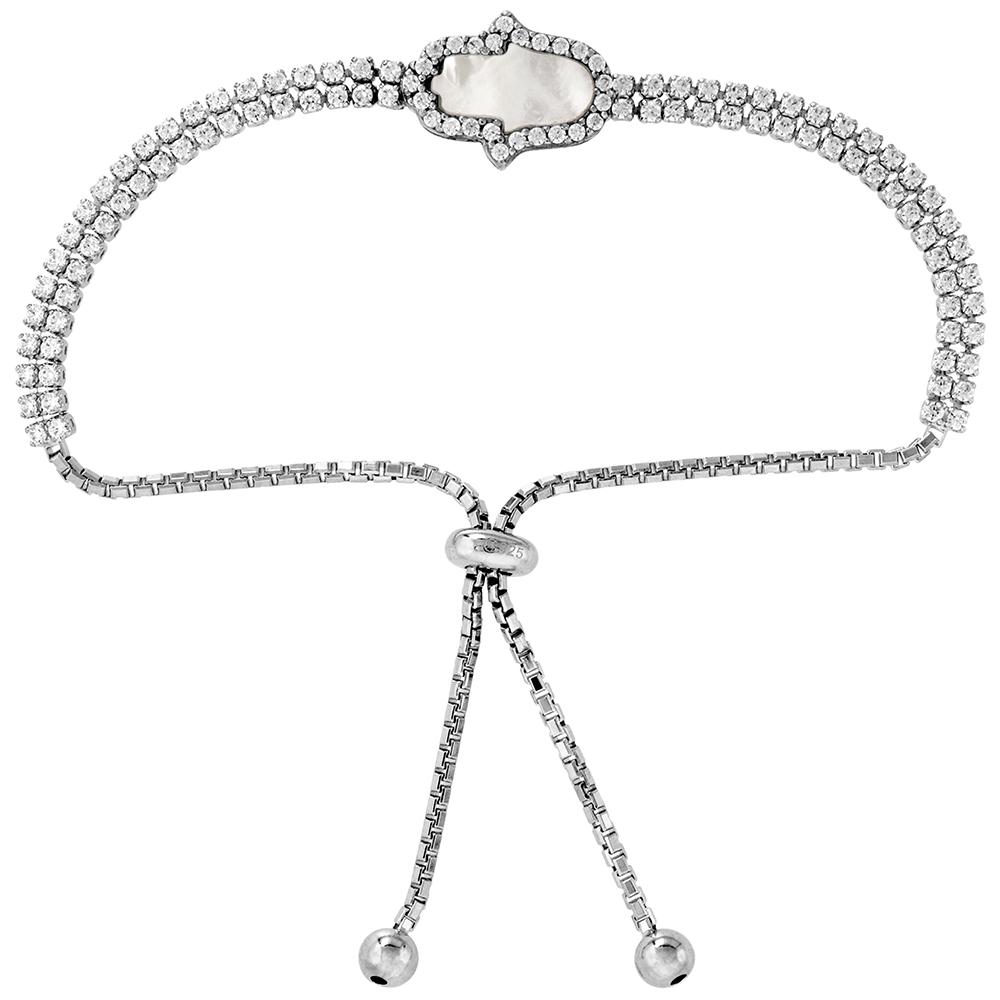 Sterling Silver Cubic Zirconia Adjustable Hamsa Bracelet Women Mother of Pearl Inlay 7-8 inch