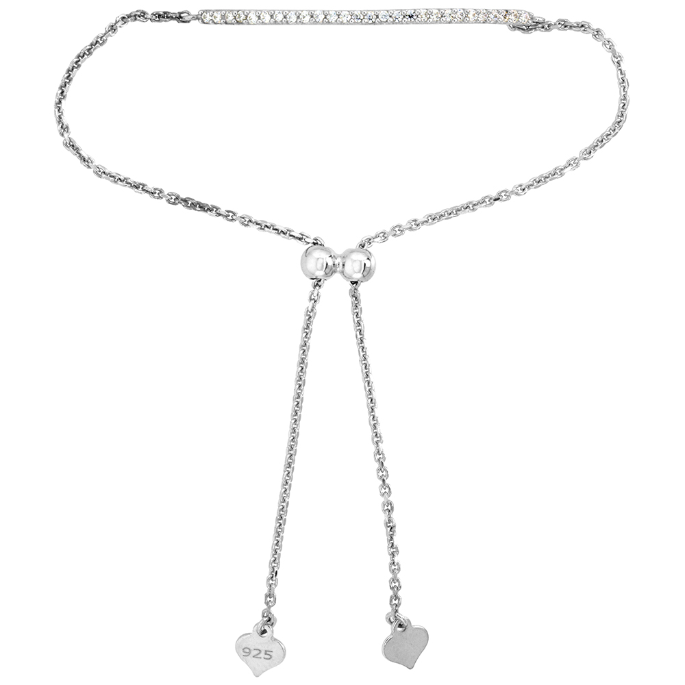 Dainty Sterling Silver Cubic Zirconia Adjustable Bar Bracelet 1.5mm Women 7-8 inch