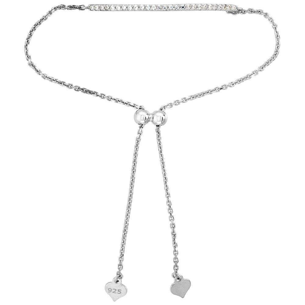 Dainty Sterling Silver Cubic Zirconia Adjustable Bar Bracelet 1.5mm Women 7-8 inch