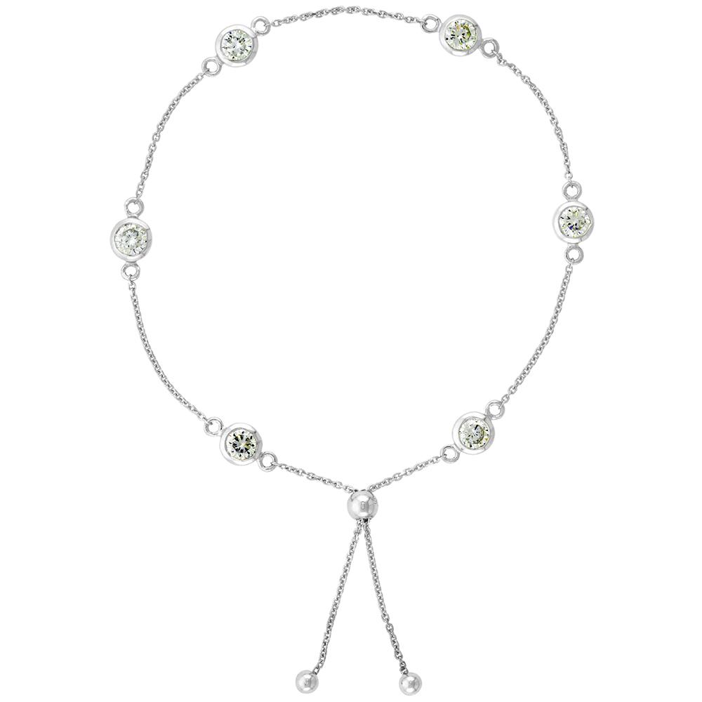 Sterling Silver Adjustable CZ Station Bracelet Women 5mm 7-8 inch