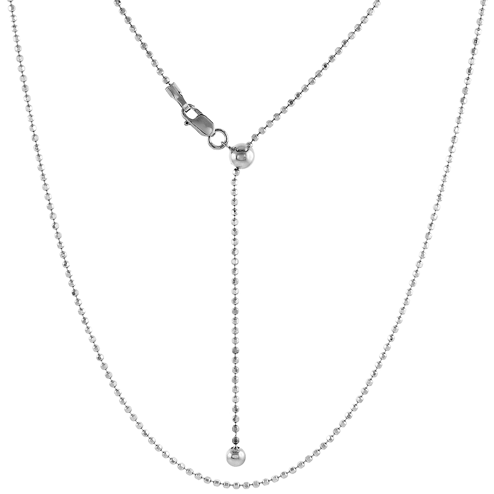 Sterling Silver Adjustable 1.5 mm Faceted Bead Chain Necklace Rhodium Finish Nickel Free, 24 inch