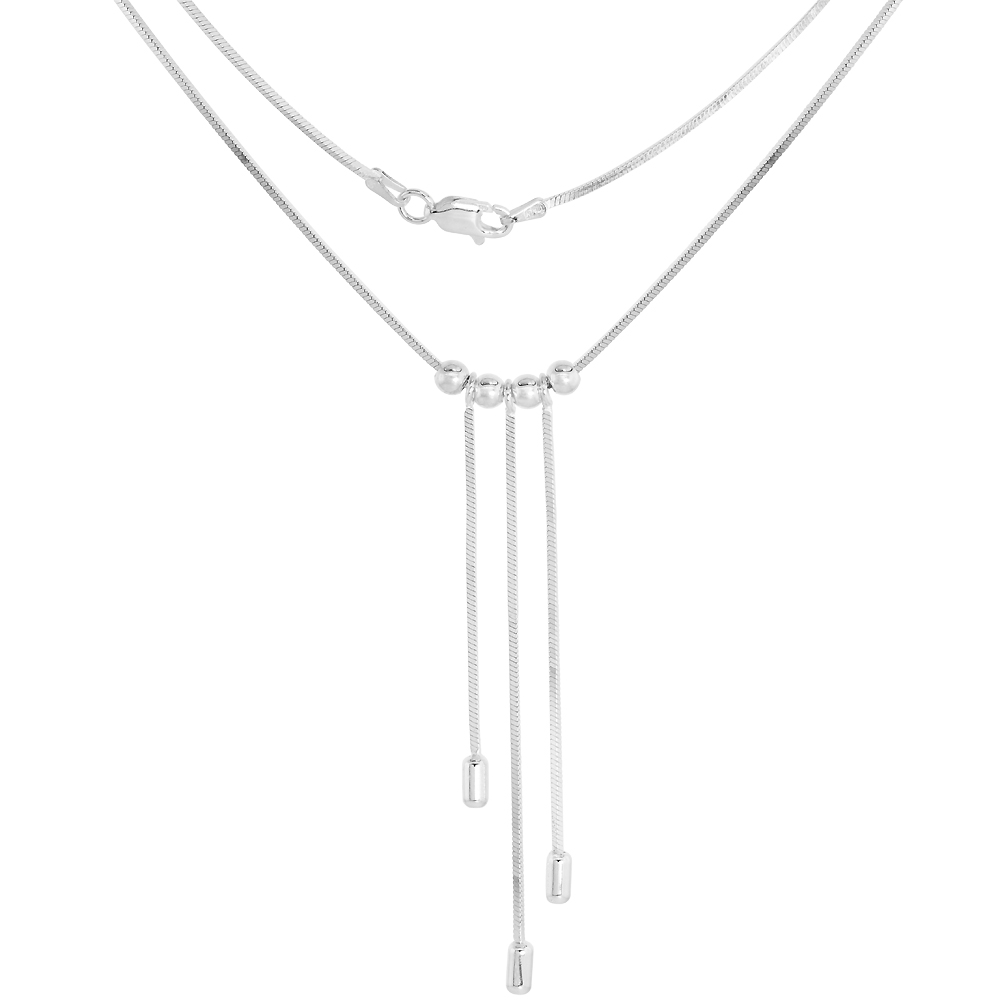 Sterling Silver Bead Drop Lariat Necklace for Women 3 Droplets Bead Spacers Snake Chain 16.5 inch Italy