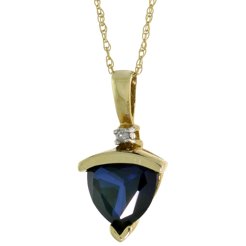 10k Yellow Gold Trillion Cut Created Blue Sapphire Necklace Diamond Accent 15mm tall 18 inch Thin Rope Chain