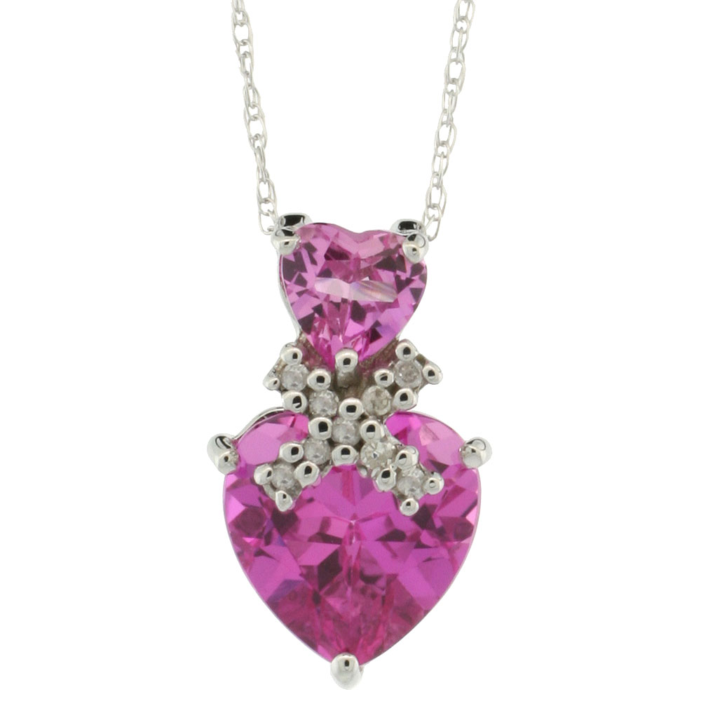 10k White Gold Diamond Natural Pink Topaz Double Heart Necklace, 18 inch long