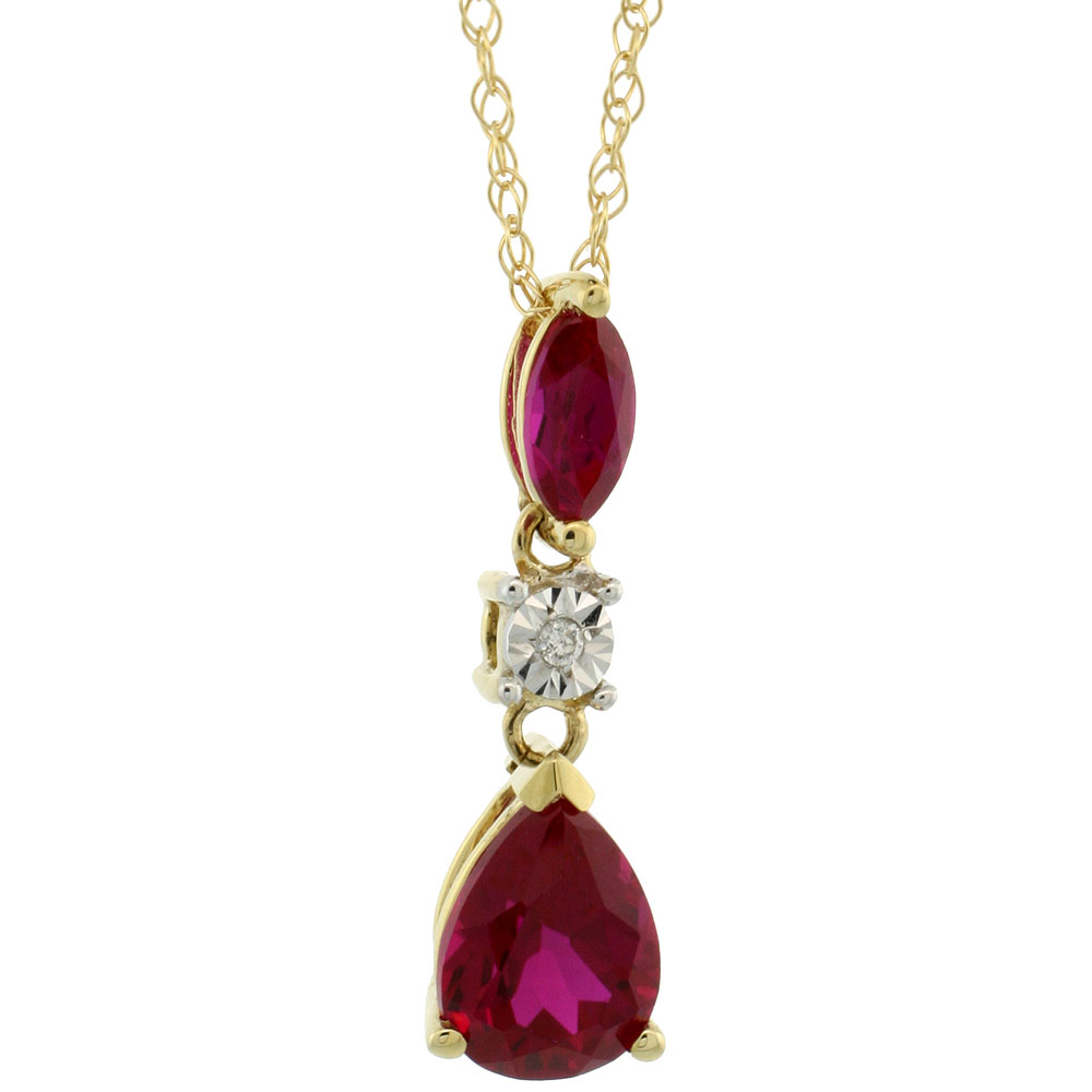10k Yellow Gold Created Ruby Drop Necklace Pear and Marquise Shape Diamond Accent, 18 inch long