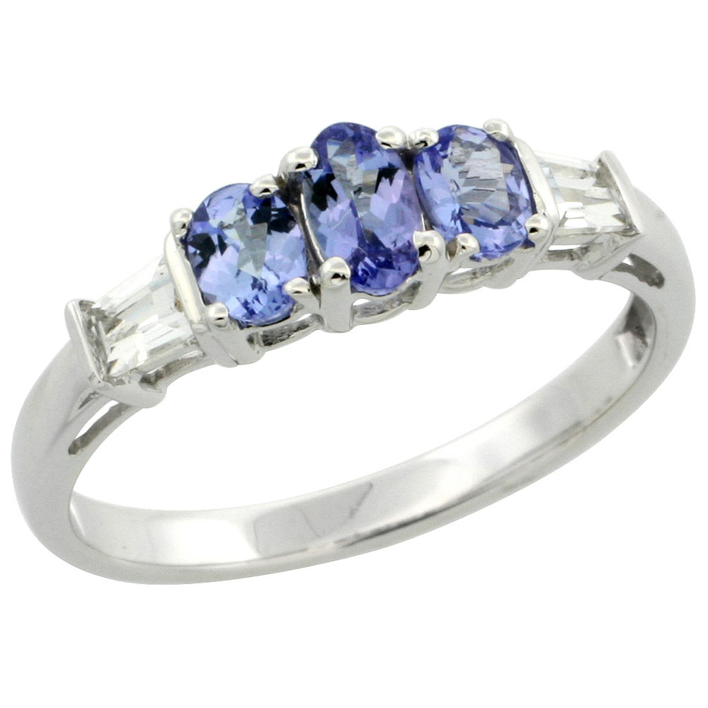 10k White Gold Natural Tanzanite 3-stone Ring Oval 5x3mm & 4x3mm White Sapphire Baguette Accent, size 5-9