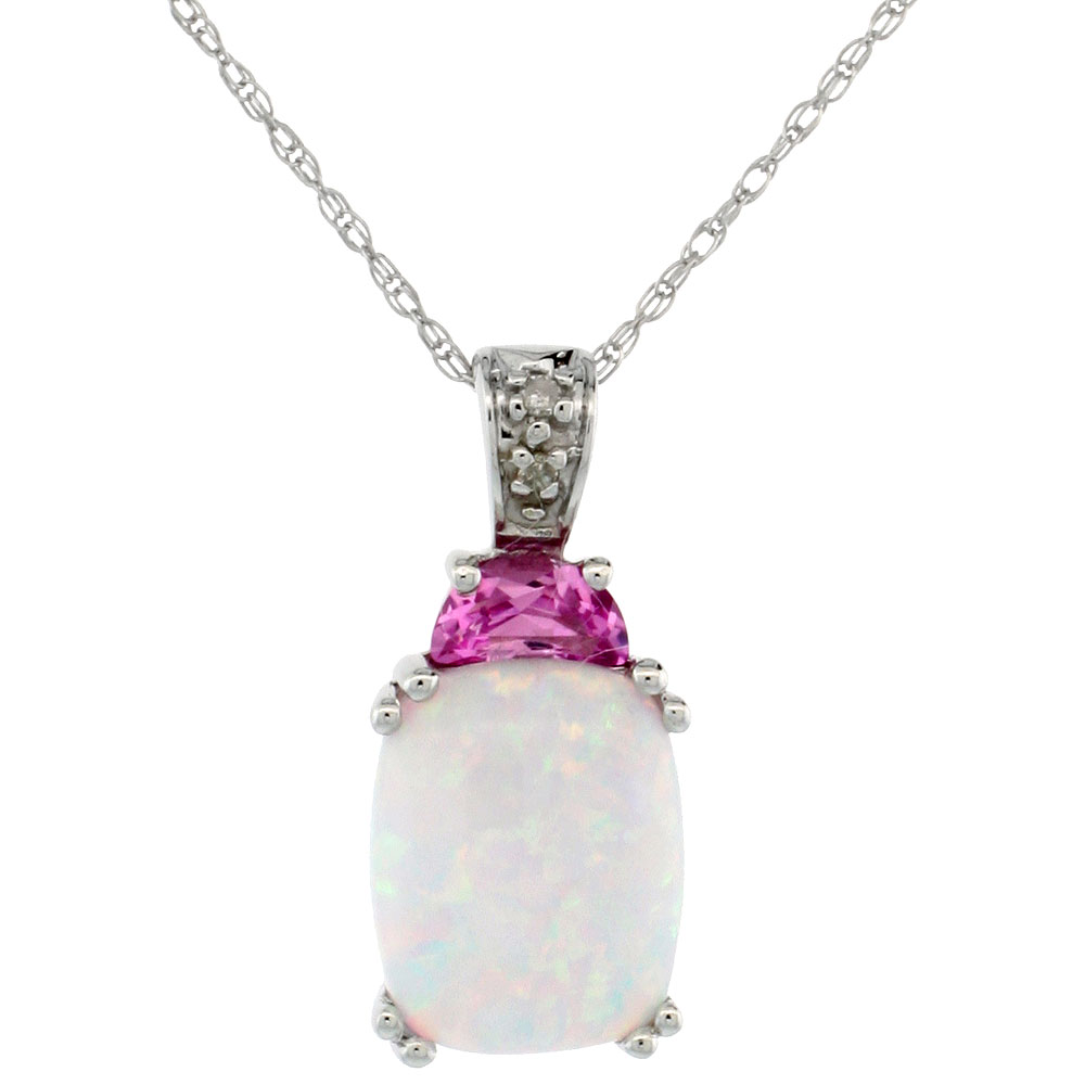 10k White Gold Synthetic Opal Necklace with Pink CZ and Diamond Accent 3/8 inch