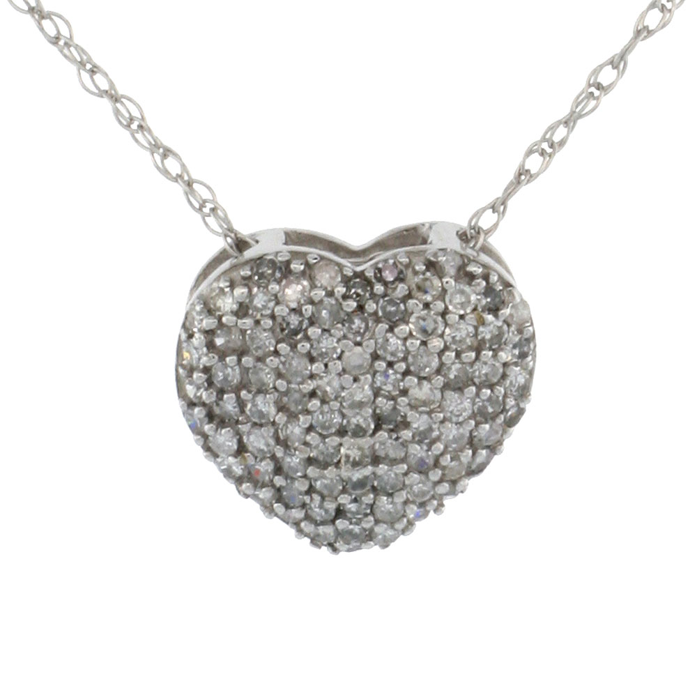 14k White Gold Diamond Heart Slide Pendant 3/8 inch wide, 18 inch long