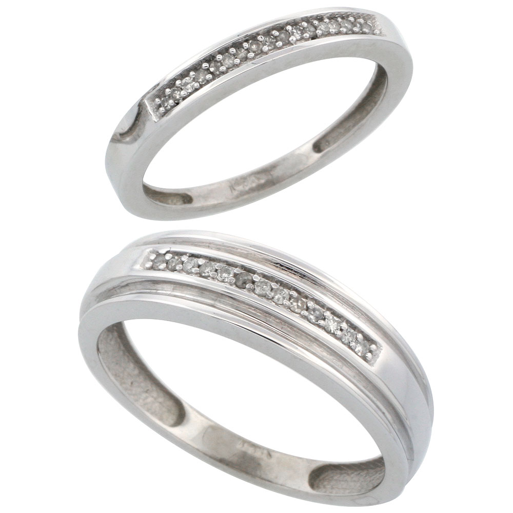 14k White Gold 2-Piece His (6mm) & Hers (2.5mm) Diamond Wedding Band Set, w/ 0.14 Carat Brilliant Cut Diamonds; (Ladies Size 5 to10; Men's Size 8 to 14)