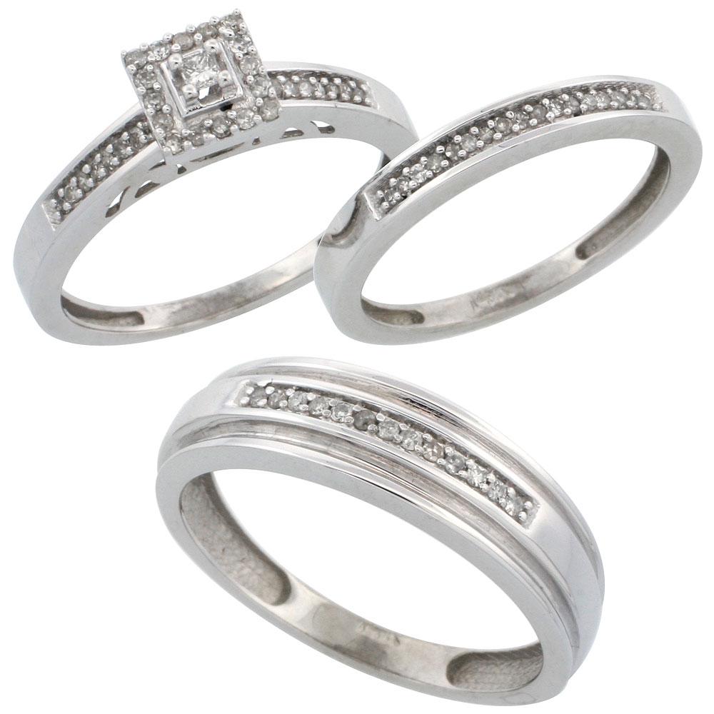 14k White Gold 3-Piece Trio His (6mm) & Hers (2.5mm) Diamond Wedding Band Set, w/ 0.33 Carat Brilliant Cut Diamonds; (Ladies Size 5 to10; Men's Size 8 to 14)