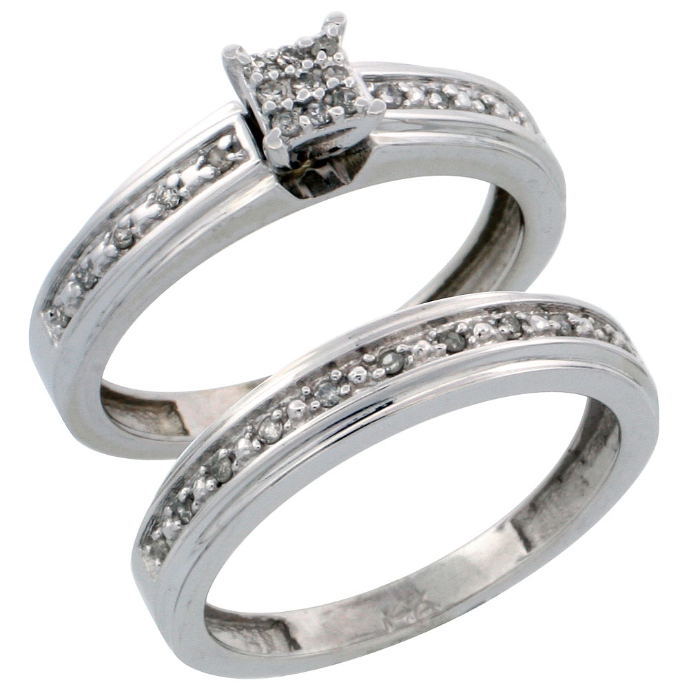 14k White Gold 2-Piece Diamond Engagement Ring Set, w/ 0.21 Carat Brilliant Cut Diamonds, 5/32 in. (4mm) wide