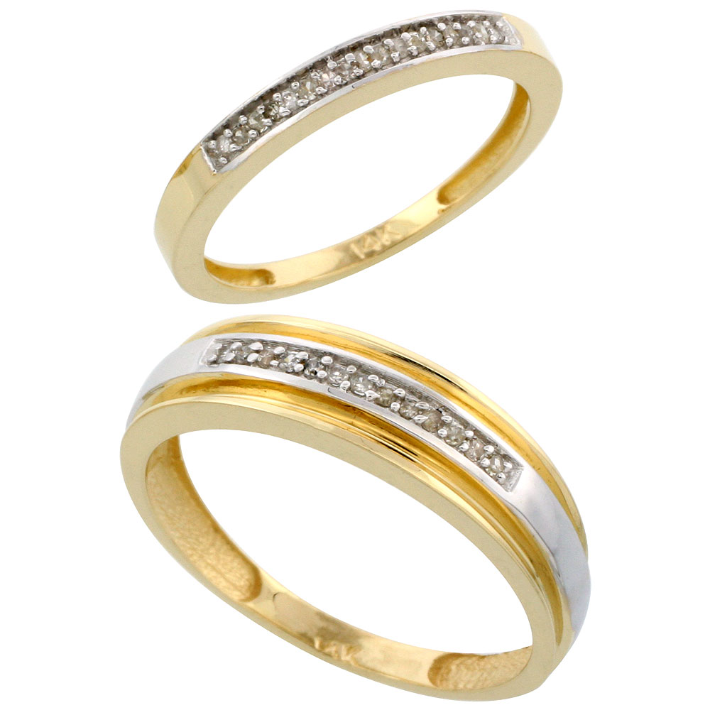 14k Gold 2-Piece His (6mm) & Hers (2.5mm) Diamond Wedding Band Set, w/ 0.14 Carat Brilliant Cut Diamonds; (Ladies Size 5 to10; Men's Size 8 to 14)