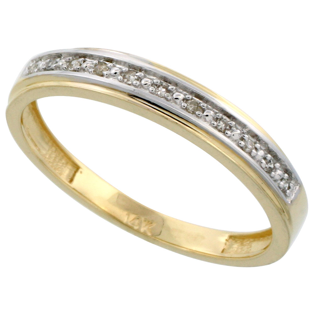 14k Gold Men's Diamond Band, w/ 0.08 Carat Brilliant Cut Diamonds, 5/32 in. (4mm) wide