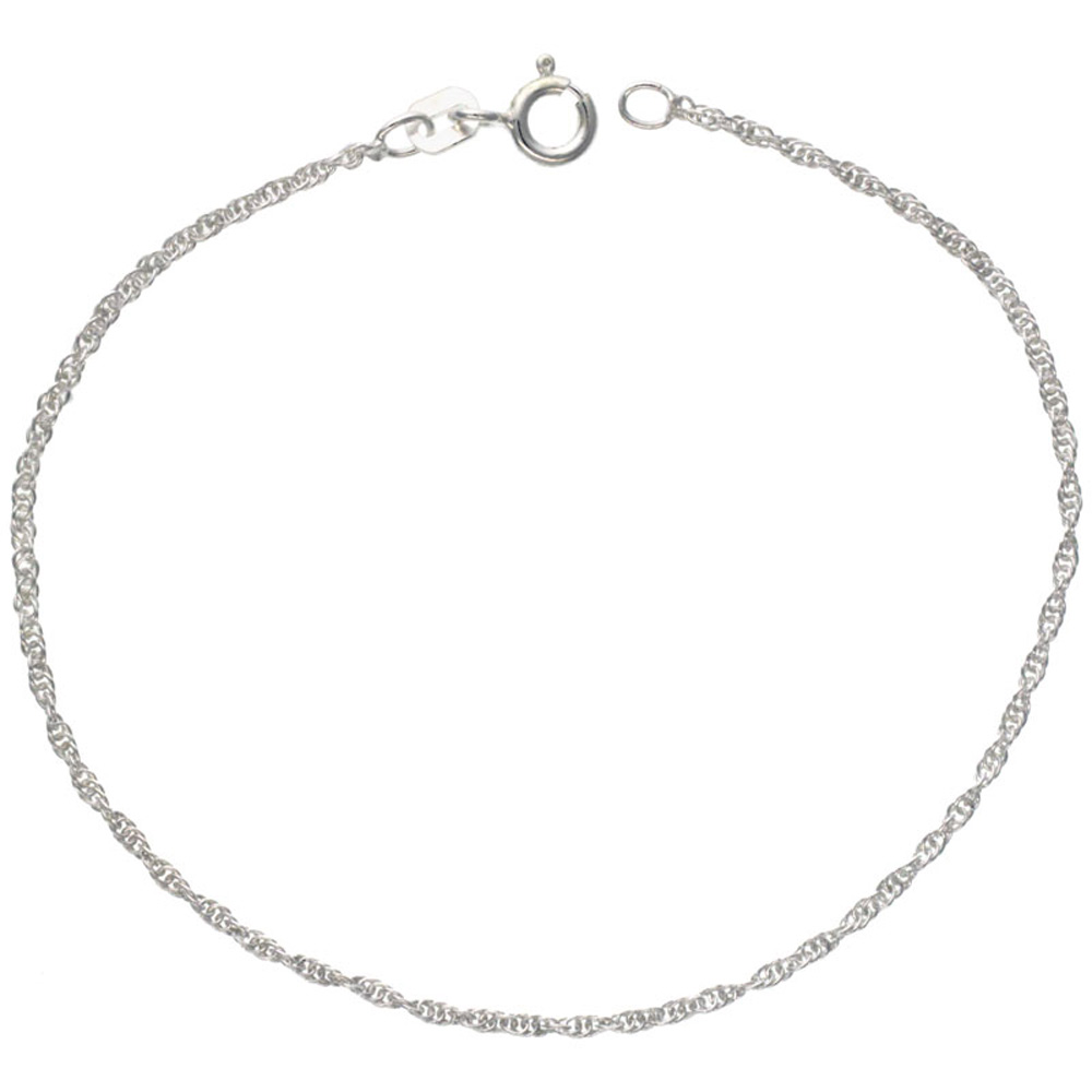 Sterling Silver Loose Rope Chain Necklace 1mm Very Thin Nickel Free Italy, sizes 16 - 18 inch