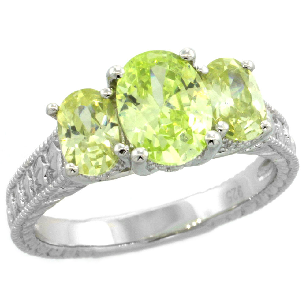 Sterling Silver Peridot Cubic Zirconia Engagement Ring 3-Stone Oval 2 ct cntr 1/2 ct Sides, sizes 6-9