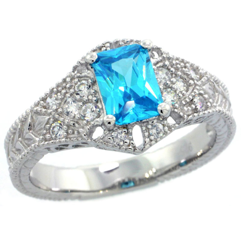 Sterling Silver Blue Topaz Cubic Zirconia Engagement Ring Emerald Cut � ct cntr, sizes 6-9