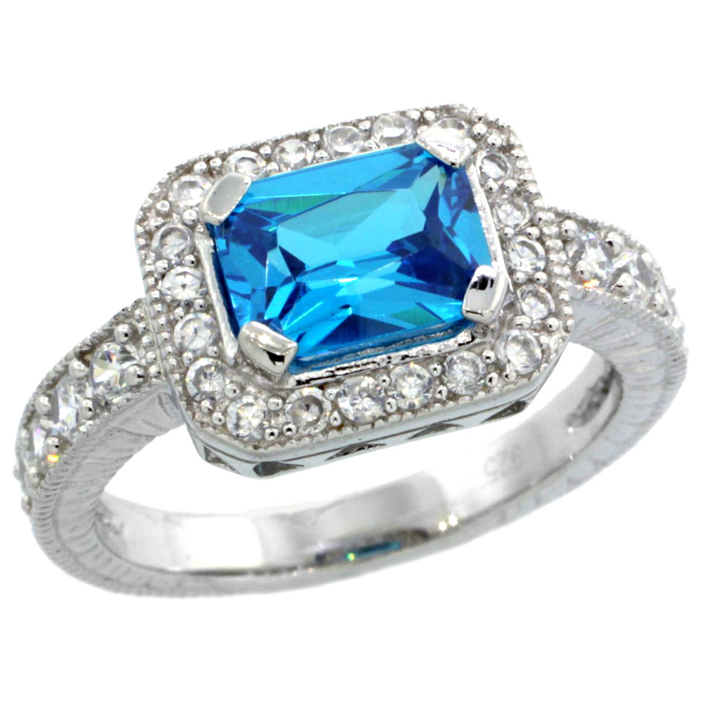 Sterling Silver Blue Topaz Cubic Zirconia Engagement Ring Emerald Cut 1 � ct cntr, sizes 6-9