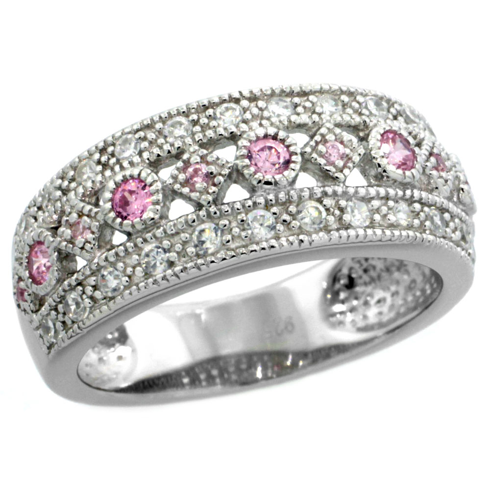 Sterling Silver Vintage Style Cubic Zirconia Ring Pink Center Row 5/16 inch wide, sizes 6-9