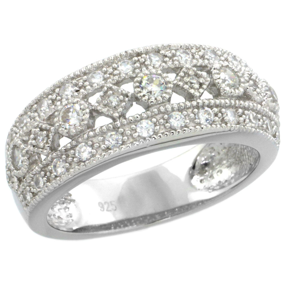 Sterling Silver Vintage Style Cubic Zirconia Ring all White Stones 5/16 inch wide, sizes 6-9