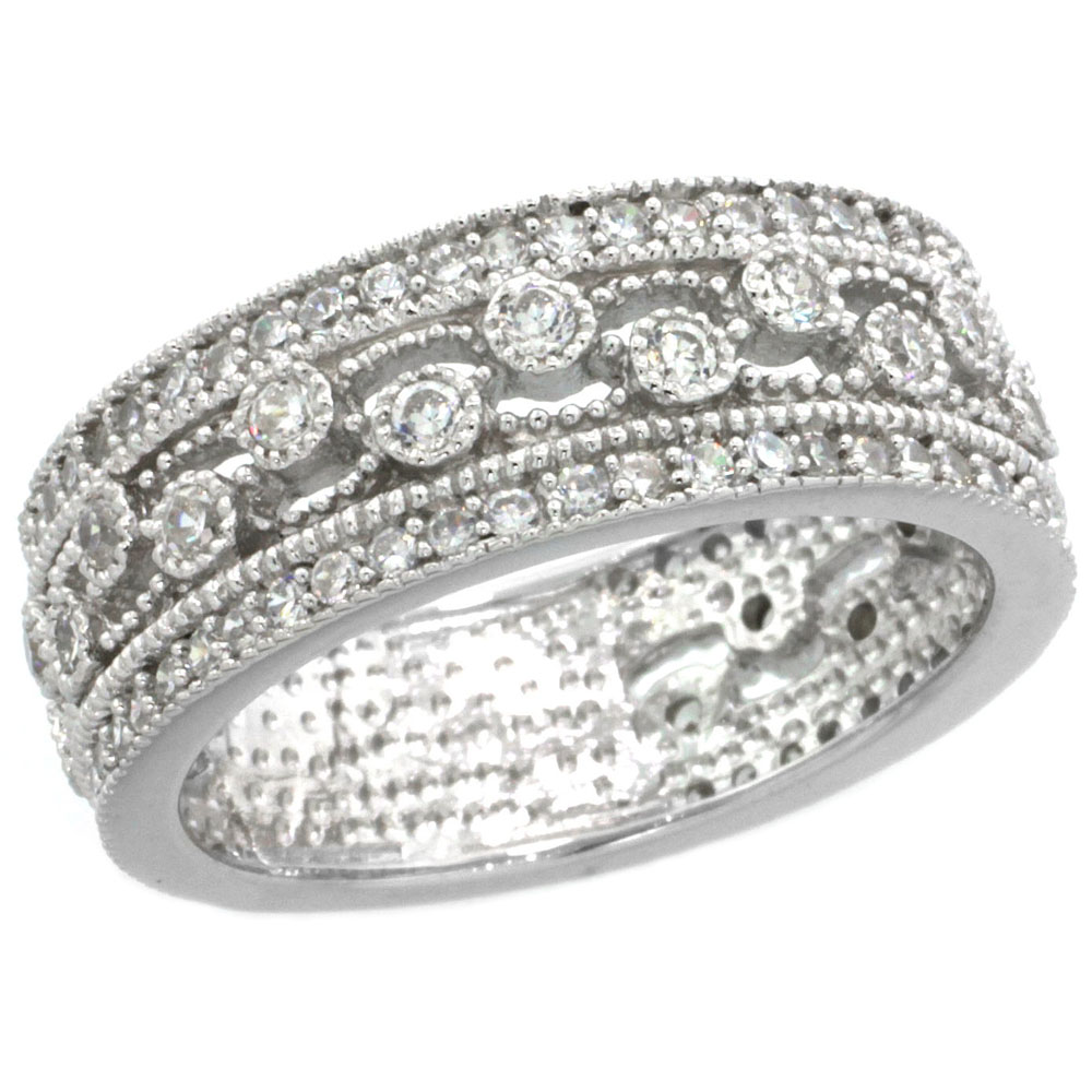 Sterling Silver Vintage Style Cubic Zirconia Ring Band All White stones 9/32 inch wide, sizes 6-9