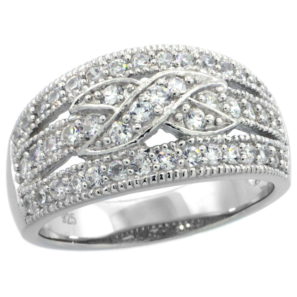 Sterling Silver Vintage Style Cubic Zirconia Cigar Band Ring Cross Center 7/16 inch wide, sizes 6-9