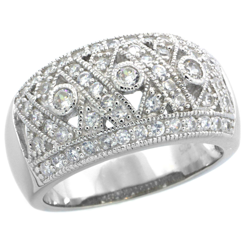 Sterling Silver Vintage Style Cubic Zirconia Crisscross Domed Cigar Band Ring 7/16 inch wide, sizes 6-9