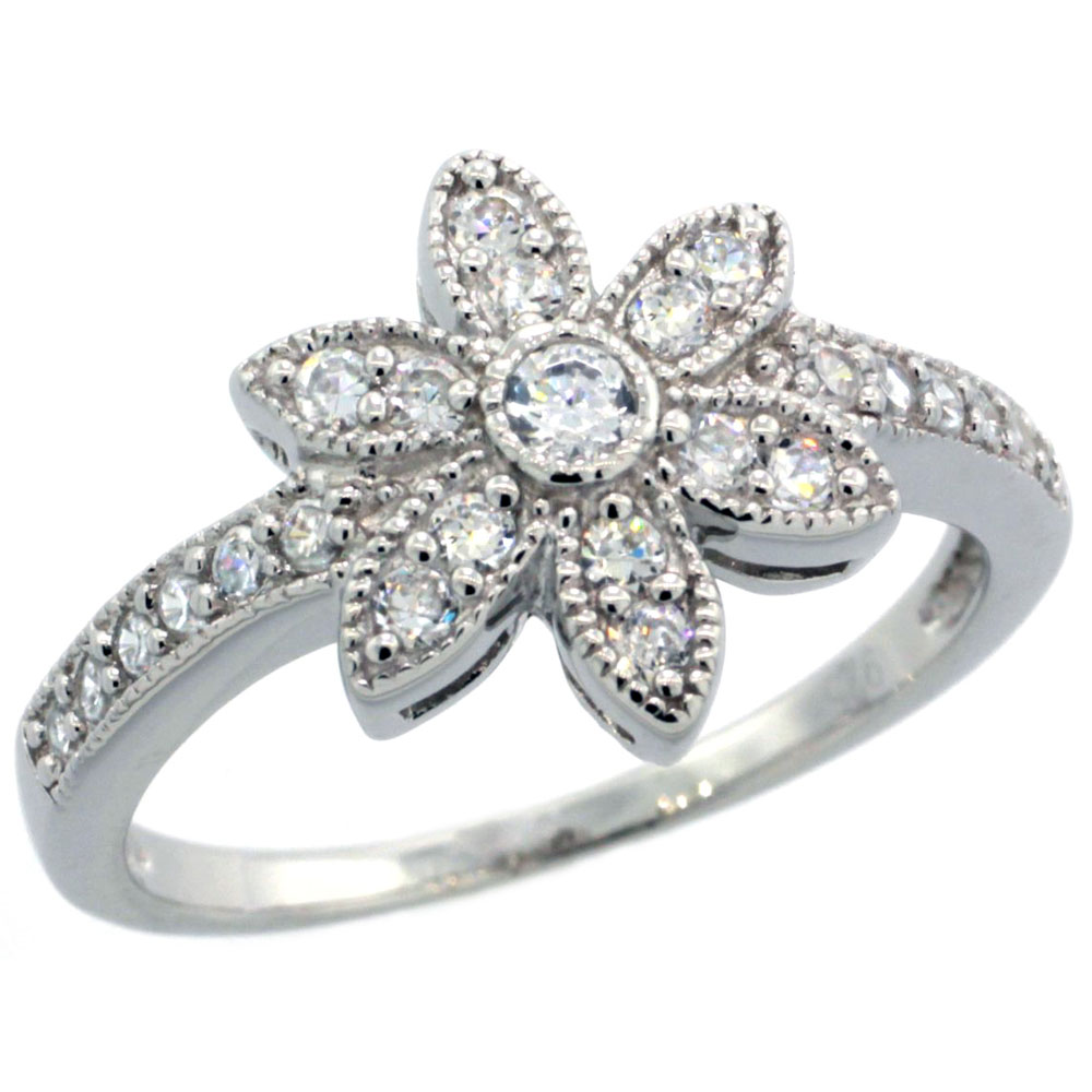 Sterling Silver Vintage Style Cubic Zirconia 6-Petal Flower Ring 1/2 inch wide, sizes 6-9